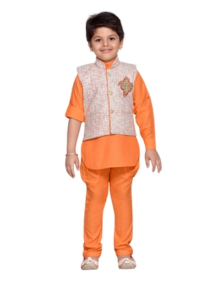 Kids Ethnic Wear Kurta Pyjama Waistcoat Set for Boys