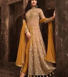 Buy Beige Embroidered Net Anarkali Salwar Suit anarkali-salwar-kameez online