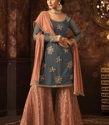 Buy Grey embroidered net salwar with dupatta sharara online