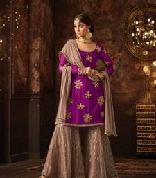 Buy Pink embroidered net salwar with dupatta sharara online