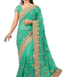 Light Green Net Embroidered Saree With Blouse