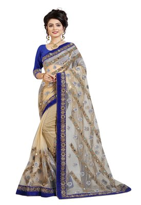 Beige embroidered net saree with blouse