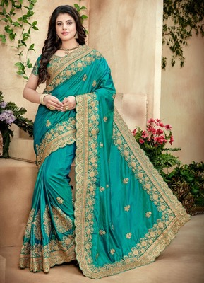 Green Silk Embroidered Bridal Saree With Blouse