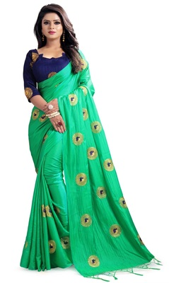 Green embroidered fancy fabric saree with blouse