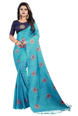 Sky blue embroidered fancy fabric saree with blouse