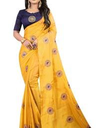 Light yellow embroidered fancy fabric saree with blouse