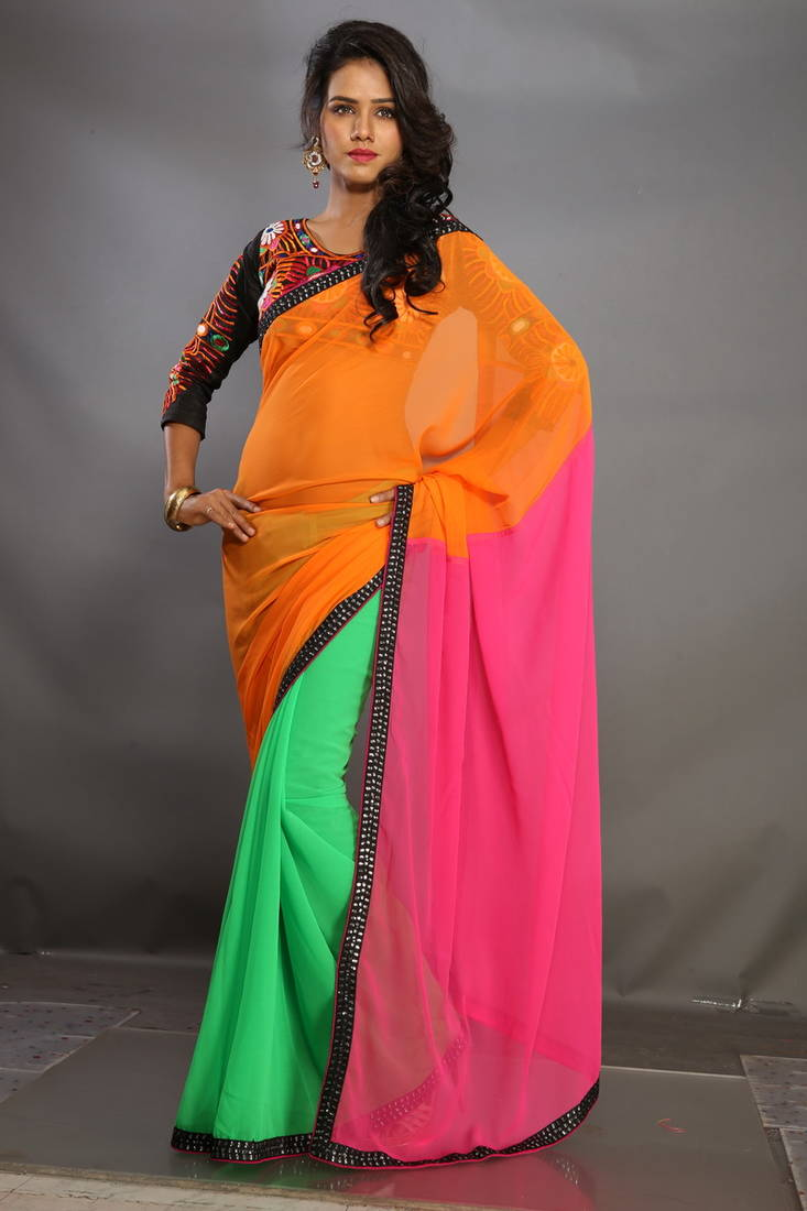 Design Your Hairstyle Online: Buy Multi Color Plain Georgette Fabric Bollywood Style