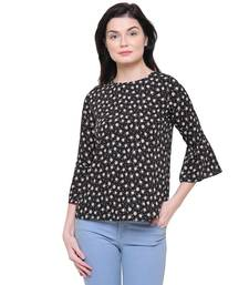 Buy Black printed polyester tops party-top online
