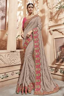54 Off Grey Embroidered Silk Saree With Blouse Wedding Online