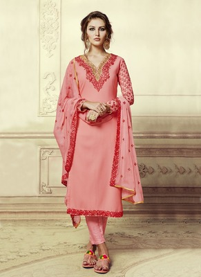 Pink embroidered georgette salwar with dupatta