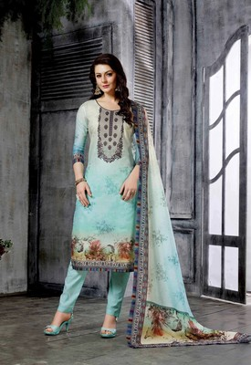 Sky-blue printed cotton salwar with dupatta