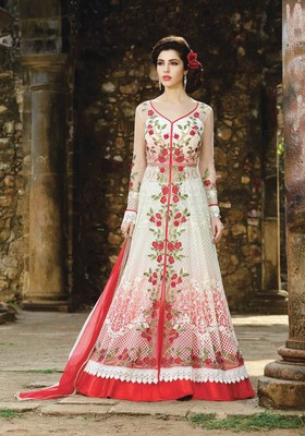 White embroidered net salwar with dupatta