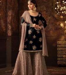 Buy Black embroidered net salwar with dupatta sharara online