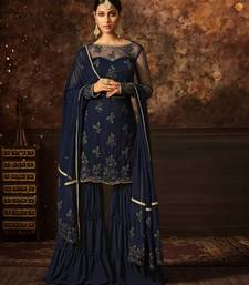 Buy Navy-blue embroidered net salwar with dupatta sharara online
