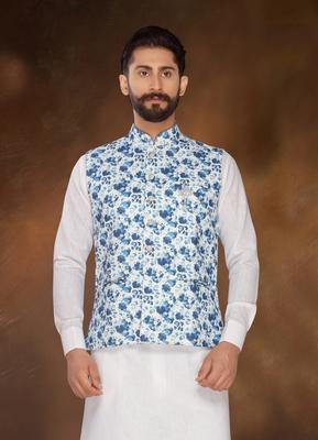ATOOL digital Print jute nehru_jacket