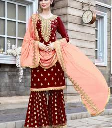 Buy Maroon mirror georgette salwar with dupatta sharara online
