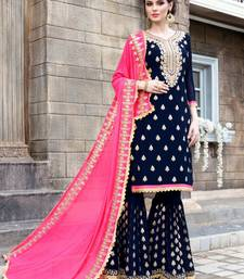 Buy navy blue mirror Georgette salwar with dupatta sharara online