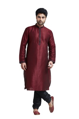 Maroon Poly Silk Kurta Set With Cording All Over The Kurta With Embroidered Collar And Placket Patti