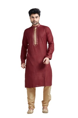 Maroon Jacquard Kurta Set With Gold Corded Near The Placket Patti And Collar