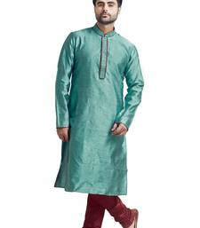 Blue Jacquard Kurta Set With Machine Embroidery On The Placket Patti And Collar With Maroon Cord Piping