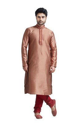 Rust Jacquard Kurta Set With Machine Embroidery On The Placket Patti And Collar With Maroon Cord Piping