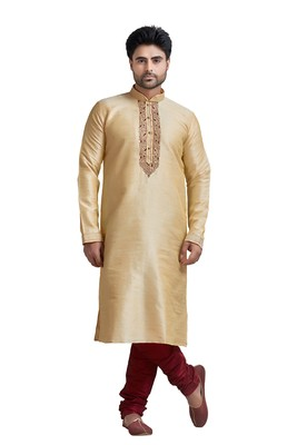 Fawn Jacquard Kurta Set With Machine Embroidery Near Plcket Patti And Cording On Collar With Stone Buttons
