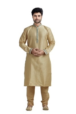Beige Poly Silk Kurta Set With Green Lace On Collar And Placket Patti And All Over Cording On The Kurta