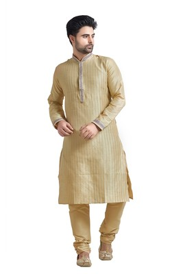 Beige Poly Silk Kurta Set With Purpal Lace On Collar And Placket Patti And All Over Cording On The Kurta