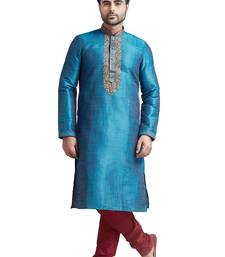 BLUE POLY SILK KURTA SET WITH MAHINE EMBROIDERY NEAR THE PLACKET PATTI AND CORING ON TH COLLAR WITH STONE BUTTONS