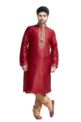 Red Poly Silk Kurta Set With Mahine Embroidery Near The Placket Patti And Coring On Th Collar With Stone Buttons