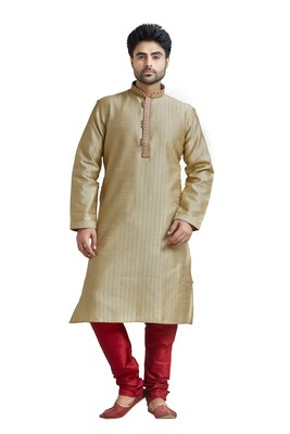 Khakhi Poly Blended Kurta Set With Macine Embroidery On Collar And Placket Patti And Cording All Over The Kurta
