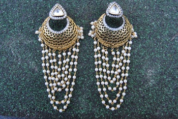 Filigree Chand Bali Earrings with Dangling Pearls