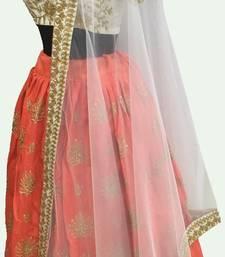 Buy Orange thread embroidery art silk semi stitched lehenga with dupatta lehenga-choli online