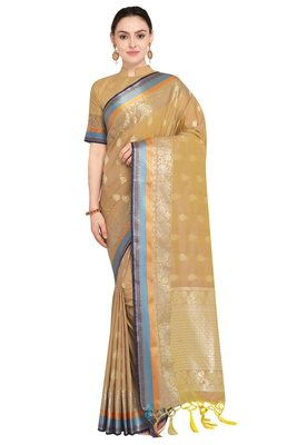 Dark beige woven katan silk saree with blouse