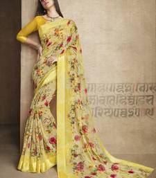 Buy Peach printed linen cotton saree with blouse printed-saree online