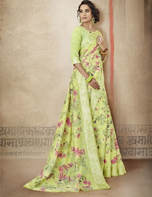 c4ca6759bcba9e Green printed linen cotton saree with blouse - Shangrila Designer - 2748130