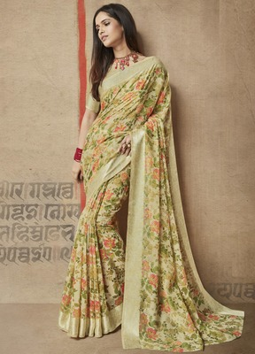 467510a0f96a28 Green printed linen cotton saree with blouse - Shangrila Designer ...