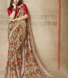 Buy Brown printed linen cotton saree with blouse printed-saree online