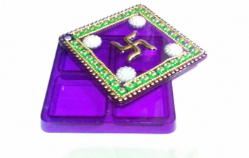 Beautiful haldi kumkum box with four compartments