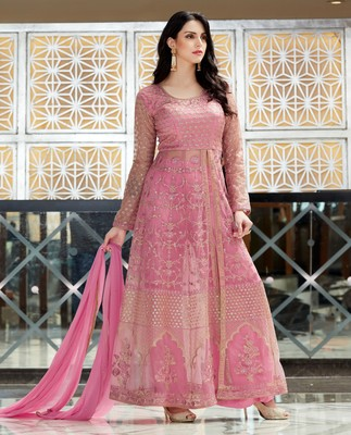 Pink embroidered net salwar with dupatta