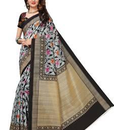 Buy Black printed bhagalpuri silk saree with blouse printed-saree online