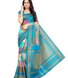 Buy Light sky blue printed bhagalpuri silk saree with blouse printed-saree online