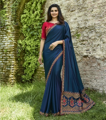 Blue embroidered faux matka silk saree with blouse