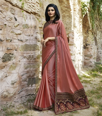 Pink embroidered faux matka silk saree with blouse
