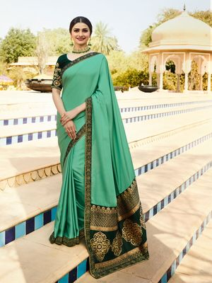 Green printed faux matka silk saree with blouse
