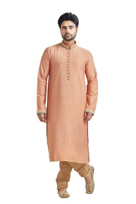 Peach Poly Stapel Kurta Set With Cording With Three Colour Collar Patti With Gundi Buttons