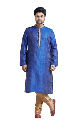 Blue Jacquard Kurta Set With Machine Embroidery On The Placket Patti And Collar With Gundi Buttons
