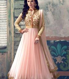 Buy peach embroidered georgette semi stitched Anarkali Suit semi-stitched-salwar-suit online