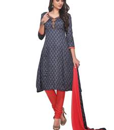 Buy Chhabra 555 Glaze Cotton Block Print Semi-stitched suit with Thread Embroidery dress-material online