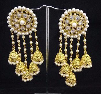 Designer Bahubali Devsena AD Pearl Jhumki Earrings Set